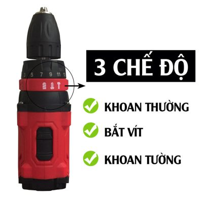 Bộ dụng cụ máy khoan pin 3 chế độ Smato Hàn Quốc